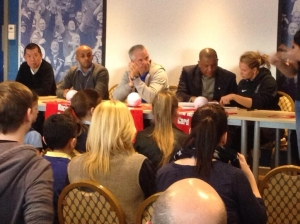 The panel  for show racism the red card with Vice chair Mervyn Lynch.
